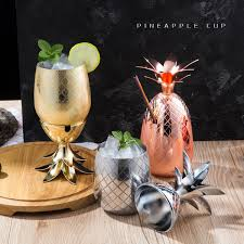 Pineapple Cocktail <b>Cup</b> Moscow Mule Mugs Stainless Steel <b>Wine</b> ...