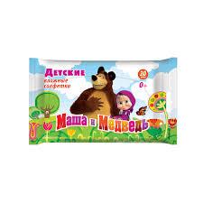 <b>Влажные салфетки</b> Маша и Медведь детские <b>20 шт</b> купить по ...