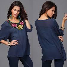 <b>2015 New design</b> women's blouse shirt embroidery neck half sleeve ...