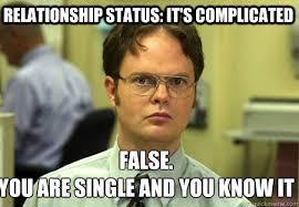 relationship status: it's complicated False. you are single and ... via Relatably.com
