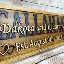 wood sign glass decor wooden kitchen wall: last name established sign family name signs wedding gift wood sign  year anniversary gift by
