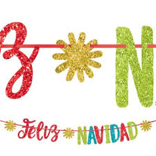 <b>Colorful Glitter</b> Feliz Navidad Letter <b>Banner</b> 12in long   Party City