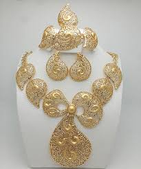 Hot Sales <b>Nigerian</b> Wedding African Beads Jewelry Sets Dubai <b>Gold</b> ...
