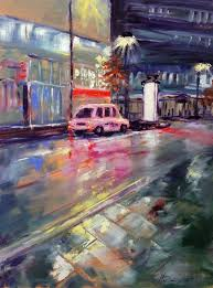 Manchester <b>Night</b>: <b>Pink Taxi</b> Painting (With images)   Painting, Art ...