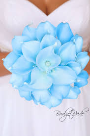 light blue Capri baby blue real touch Calla <b>Lily</b> Wedding Bouquet ...