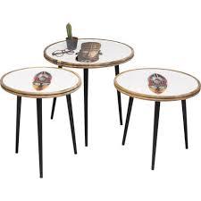 Комплект из трех <b>столиков African</b> Mask из древесины манго ...
