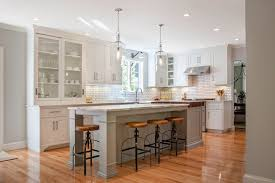 island pendant lighting two tone brown and white kitchen interior set with contemporary slipped bar stools attractive kitchen bench lighting