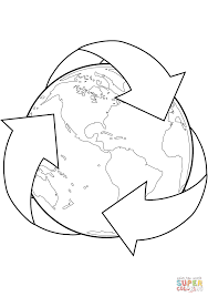 Small Picture Recycle Sign with Earth coloring page Free Printable Coloring Pages
