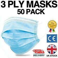 <b>50</b> x black <b>disposable face masks</b> non-medical <b>surgical mask</b>