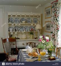 Cottage Dining Room Table Blue White China Collection On Cream Dresser In Cottage Dining