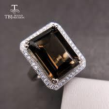 TBJ,<b>Classic big</b> size <b>gemstone</b> ring with Natural smoky oct10*14mm ...