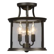 lighting light bathroom atg stores xkvq semi flush mount oil rubbed bronze with clear glass