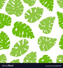 Seamless <b>monstera</b> pattern with <b>fresh</b> green <b>leaves</b> Vector Image