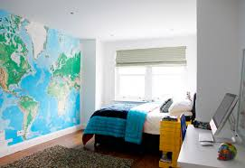 astonishing teen bedroom with big world map wall painting furniture feat simple white computer desk and small yellow shelves also glamorous wooden floor astonishing cool furniture teens
