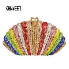 <b>Fashion</b> Luxury Multicolor <b>Crystal</b> Evening Bag <b>rainbow Color</b> ...