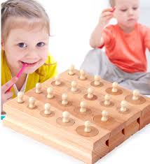Montessori <b>Educational Wooden</b> Toys For Children <b>Cylinder Socket</b> ...