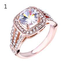 <b>Fashion Square Zircon</b> Ring Rose Gold Color CZ Rings for Women ...
