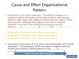 thesis statement for cause and effect essay for cause  custom