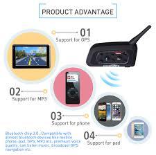 Fodsports <b>2 pcs</b> V6 Pro <b>Motorcycle</b> Helmet Bluetooth Headset ...