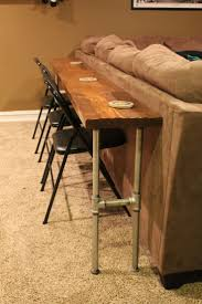 table bar height chairs diy: sofa table bar table made from board and conduit great for the basement media room hmmm interesting idea might have to do this unique diy crafty