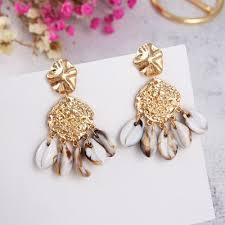 Metal Simple Seashell <b>Fashion</b> Temperament Long Shell Earrings ...