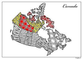 Small Picture Adult coloring page Zentangle Canada colouring travel map of