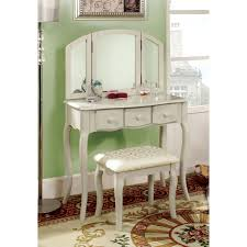 mirrored fancy design ideas of antique white polished wood french dressing vanity table by ashley furniture bedroom features with curved wings mirror makeup awe inspiring mirrored furniture bedroom sets