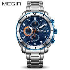 MEGIR <b>Chronograph Quartz Men</b> Watch Luxury Brand Stainless ...