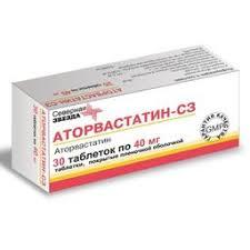 <b>Аторвастатин</b>-<b>СЗ</b>, 40 <b>мг</b>, таблетки, покрытые пленочной ...