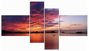 Sunrise Red Sky Ocean Landscape Impressionist Wall <b>Art</b> Living ...