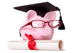 A piggy bank wearing a graduation cap