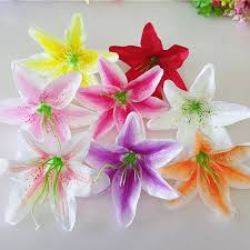 13CM Artificial Lily Flowers <b>10Pcs</b>/<b>lot Silk Flower</b> Heads Simulation ...