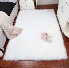 <b>Rectangle</b> Sheepskin Hairy Carpet Faux Mat Seat Pad Fur <b>Plain</b> ...