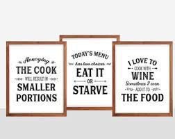 kitchen art utensils prints puns set set of kitchen prints kitchen quotes funny kitchen signs typography pr