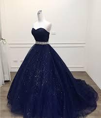 Stunning <b>Navy Blue</b> Ball Gown Prom Dress Bling Bling <b>Quinceanera</b> ...