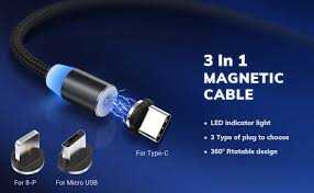 TOPK USB Magnetic Cable,<b>Micro</b> USB and <b>Type C 3in1</b>, 90