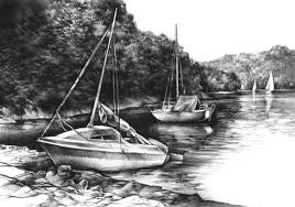 large size design black goldfish bath accessories: yachts original charcoal drawing by katarzyna kmiecik black and white charcoal landscape yacht sailing art boat sketch realistic art