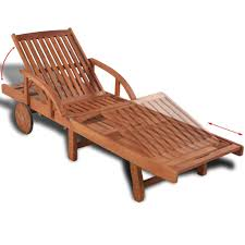 Fesjoy <b>Sun Lounger</b> Adjustable Reclining Wooden <b>Sunlounger</b> ...