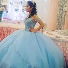 Blue Puffy <b>2019</b> Cheap Quinceanera Dresses Ball Gown <b>V neck</b> ...
