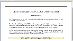credit or debit card charge dispute letter credit or debit card charge dispute letter