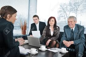 businessw in an interview three business people getting businessw in an interview three business people getting positive feedback stock photo 13381810