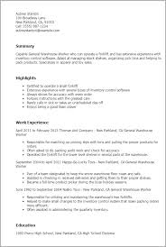 professional general warehouse worker templates to showcase your    resume templates  general warehouse worker