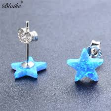 <b>Blaike</b> Cute Star Blue/White Fire Opal Stud Earrings For Women <b>925</b> ...