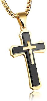 Mens Cross <b>Necklace</b> for Men Women Solid <b>316L</b> Stainless Steel ...