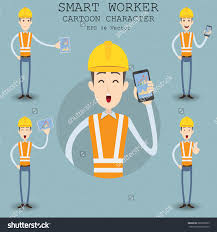 smart worker cartoon character eps vector illustration save to a lightbox