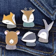 Cute Cartoon Animal Brooches for Women Creative Fox <b>Rabbit Bear</b> ...