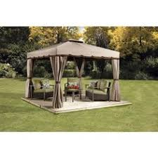 fire pit set casual sojag romano  feetx feet beige amp brown sun shelter