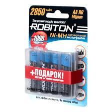 <b>Аккумулятор Robiton</b> LR6 <b>AA</b> 2850 mAh (уп 4 шт) + футляр ...