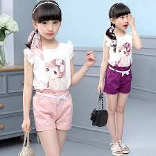 Ready stock Baby <b>Girls clothing</b> Short Sleeve T-Shirt + Shorts <b>2pcs</b> ...