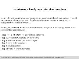 maintenance handyman interview questionsmaintenance handyman interview questions in this file  you can ref interview materials for maintenance handyman